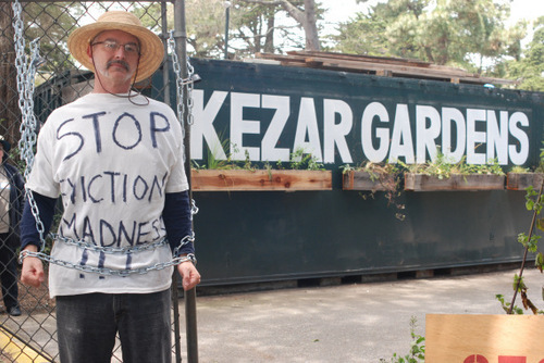 A Recycling and Garden supporter demonstrates on behalf of the Haight Ecology center currently under threat of eviction.  If closed, 100 people will lose their gardens and local businesses will have to provide in-store recycling or foot the bill to the ...
