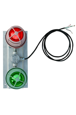 The EPL-TL-2X10W-C explosion proof LED traffic light from Larson Electronics is an ideal indicator lighting solution for for industrial refueling stations and manufacturing facilities. The light housings are constructed with a polyester powder coated copper free aluminum casting that can withstand 1490 pounds PSI hydrostatic pressure. The mounting plate is also made from aluminum and can be custom built to customer specifications. This explosion proof red and green indicator light has a 50,000 hour operational life and is available in 120-240 VAC and 12/24 VDC configurations for standard or low voltage operation.  (PRNewsFoto/Larson Electronics)