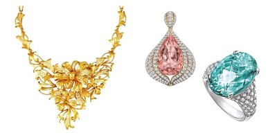 From left: Bridal gold jewellery necklace by Chow Tai Fook; coloured gemstone jewellery pieces by Lorenzo Jewelry Ltd