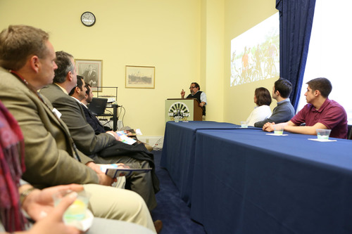 Arizona Rep. Raul M. Grijalva discusses Latino engagement in preserving our national parks at Hispanic Access Foundation's briefing of their Four Stops, One Destination tour for the Congressional Hispanic Caucus.  (PRNewsFoto/Hispanic Access Foundation)