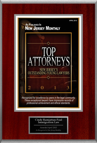 Attorney Cindy Ramjattan-Paul Selected for List of Top Rated Lawyers in New Jersey.  (PRNewsFoto/American Registry)