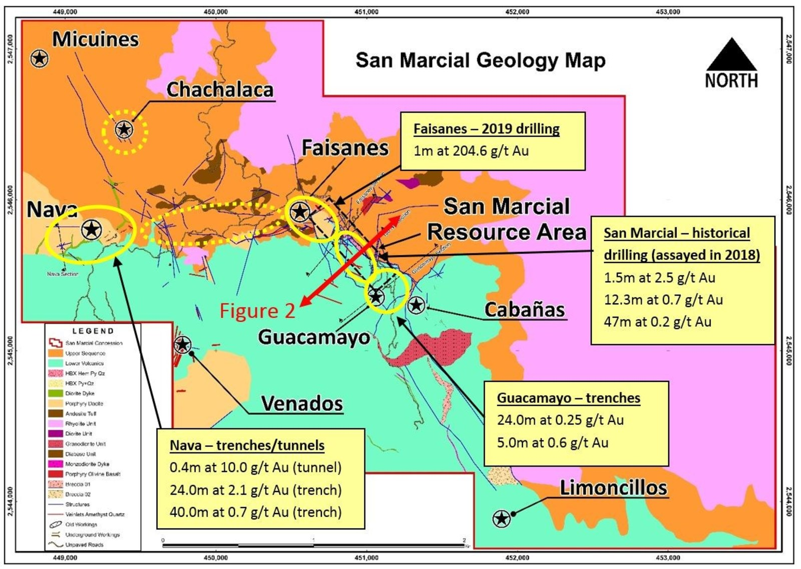 Figure 1: Gold potential at San Marcial - Best gold results to date from four priority targets