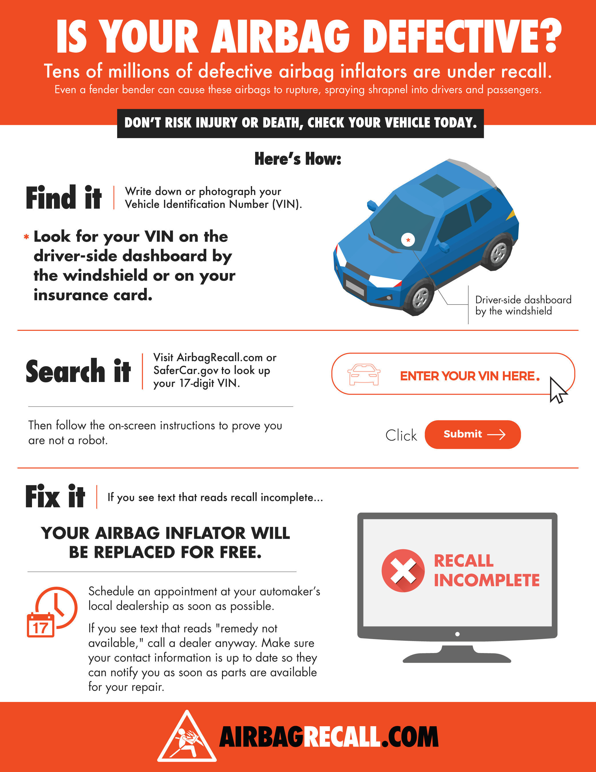 Tens of millions of defective airbag inflators are under recall. Don't risk injury or death, check your vehicle today.