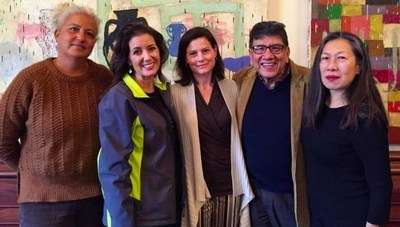 Arts and civic leaders announce grants for arts groups in Oakland, left to right: East Side Cultural Alliance Director Elena Serrano; Oakland Mayor Libby Schaaf; Director of Arts Strategy and Ventures for the Kenneth Rainin Foundation Shelley Trott; Oakland Cultural Affairs Manager Roberto Bedoya, and CAST Executive Director Moy Eng