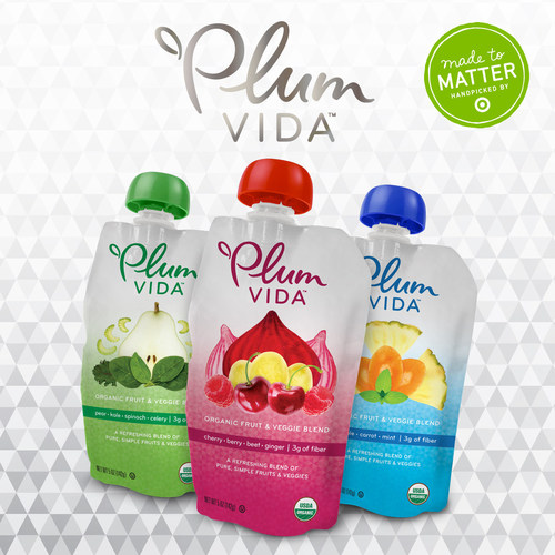 Plum's first anytime snack for adults, Plum Vida is a vibrant, organic blend of fruits and veggies with a hint of culinary flair packaged in a portable pouch format. (PRNewsFoto/Plum Organics)
