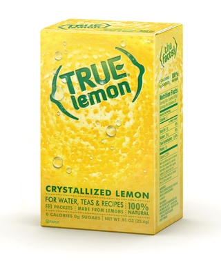 100% natural True Lemon, for water, teas and recipes, in convenient on-the-go packets. True Lemon is made from fresh lemons selected for superior flavor. Lemon juices and oils are cold-pressed and crystallized to capture the lemon¿s taste at the peak of freshness. True Lemon has no preservatives, artificial ingredients/sweeteners, 0 calories and less than 1 gram of carbohydrates per serving. Information and free samples are available at www.truelemon.com. (PRNewsFoto/True Citrus, LLC)