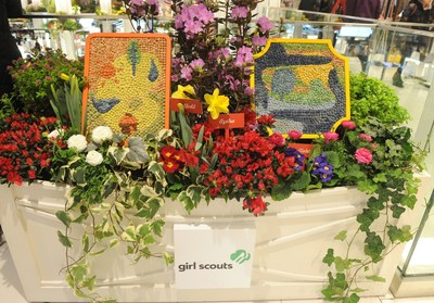"""On the first day of spring, Girl Scouts of the USA reveal the second annual """"Girls' Choice"""" Badges at Macy's 42nd Annual Flower Show. Pictured: Outdoor Art Expert and Outdoor Art Master badges.  Photo credit Diane Bondareff / AP Images for Macy's Inc."""