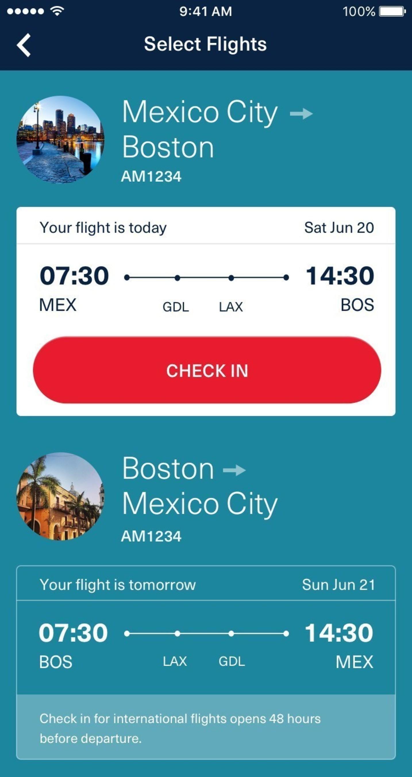 Aeromexico's mobile app
