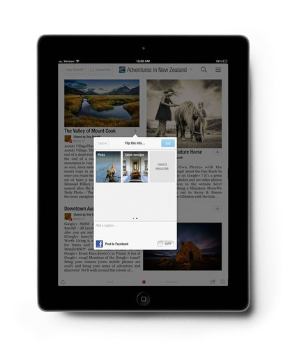 "New ""+"" button lets readers and publishers curate on Flipboard and make their own magazines. (PRNewsFoto/Flipboard)"