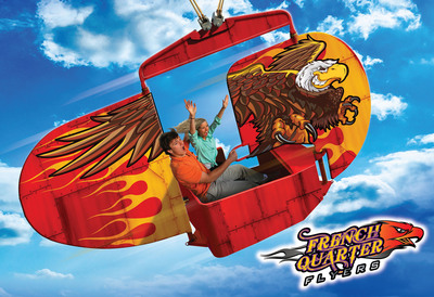 The young and fun at heart will love French Quarter Flyers, you'll glide through the air in one of eight flying cars. Each vehicle has a stationary rear wing and a movable front wing and can travel at speeds up to 40 miles-per-hour. You can be the pilot and control your own riding destiny as you pump up the thrill for a more intense wild flight or simply sit back, take it easy and enjoy the ride.  (PRNewsFoto/Six Flags Entertainment Corporation)