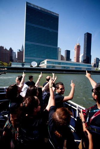 UNAOC - EF Summer School participants view the headquarters of the United Nations on a scenic boat tour of Manhattan.  (PRNewsFoto/EF Education First)
