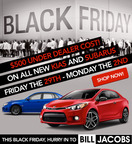 Visit Bill Jacobs Auto Thanksgiving weekend and find Black Friday savings on new Kia and Subaru models.  (PRNewsFoto/Bill Jacobs Automotive Group)