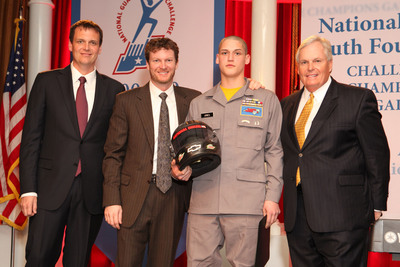 #88 Crew Chief Steve Letarte, Dale Earnhardt Jr ., Cadet Jeremy Jones and Rick Hendrick of Hendrick Motorsports. Images created by Washington Photo.  (PRNewsFoto/National Guard Youth Foundation, Washington Photo, Chris Burch)