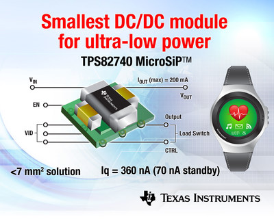Texas Instruments tiny power module extends battery life in next-generation smart watches.