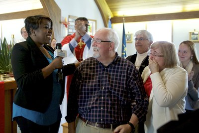 David Rennie of Shelton, Connecticut, was surprised at his church by HGTV host and interior designer Tiffany Brooks with the news that he is the winner of the HGTV Dream Home 2016 on Merritt Island, Florida.
