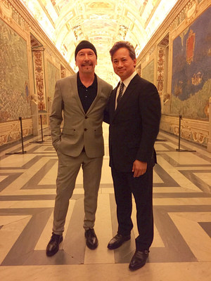The Edge of U2 and Dr. William Li at the Vatican.