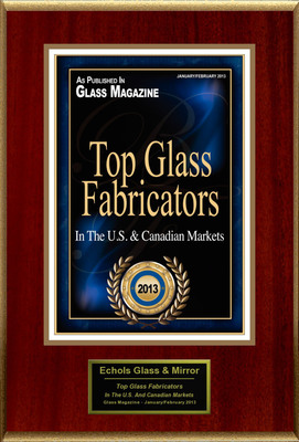"Echols Glass & Mirror Selected For ""Top Glass Fabricators"".  (PRNewsFoto/Echols Glass & Mirror)"