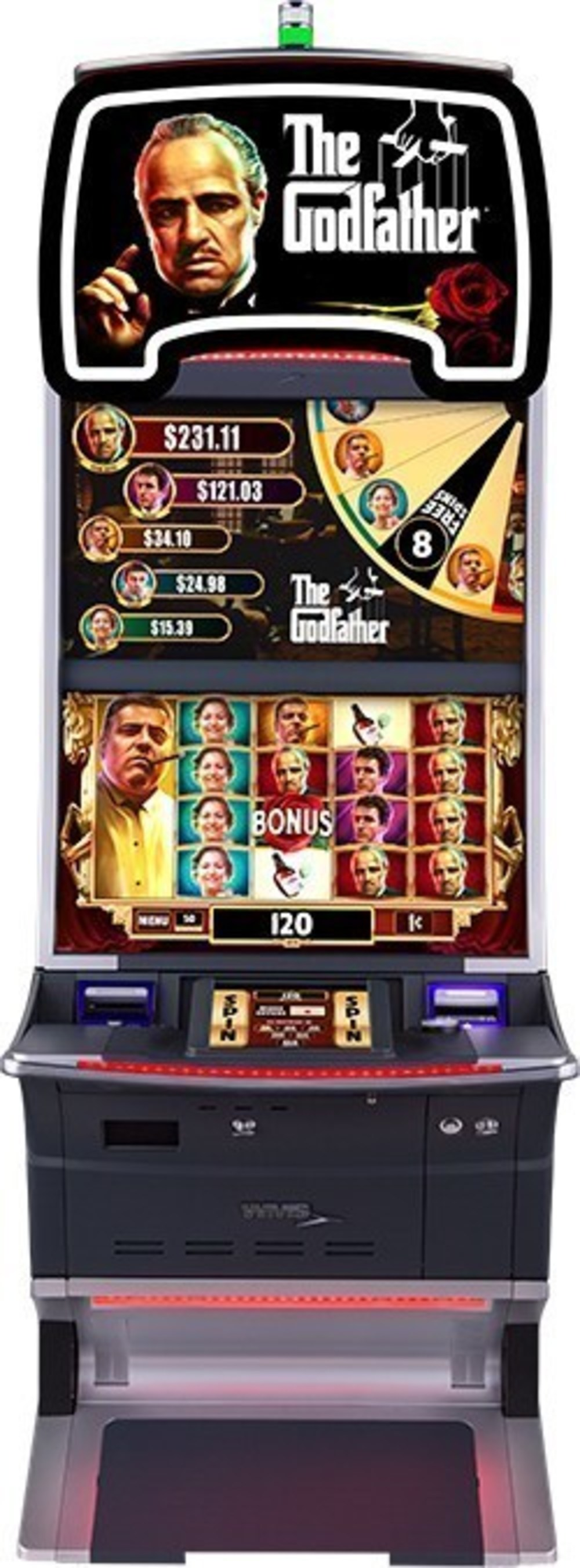 THE GODFATHER(R) theme on the s32 cabinet offers free spins with double the lines, a five-level near-area progressive jackpot feature and random character symbols that award character upgrades, respins, multipliers, or more credits.