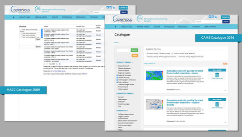 The new user interface of the CAMS Catalogue compared to its precursor with an improved user experience: Easier to understand the data content at-a-glance and increased functionalities (ECMWF Copernicus). (PRNewsFoto/Copernicus Atmosphere)