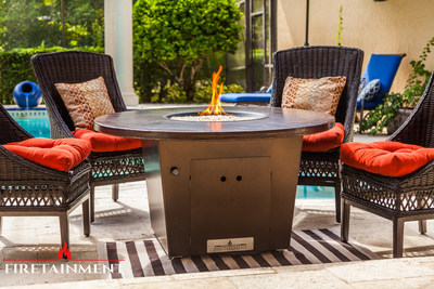 "The Cyprus 42"" Round Fire Pit Table was inspired by the exotic island of Cyprus. This metallic, hand-hammered, copper top fire pit table will infuse a refined Mediterranean element into your outdoor decor. Firetainment's unique products combine features of an outdoor patio table, hibachi grill, and fire pit, all in one piece of outdoor furniture. Because of the fire pit table's versatility, it has become a 'must-have' item amongst interior designers, outdoor furniture specialist and chefs of all skill levels. Visit www.firetainment.com to view the entire Fire Pit Table Collection."