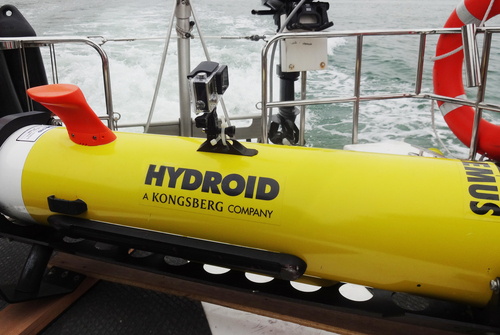REMUS 100 AUV on deck before launching (PRNewsFoto/Hydroid, Inc.)
