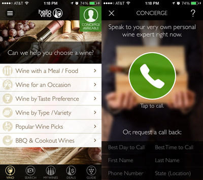 "New ""Wine Expert On-Demand"" concierge feature in Hello Vino Wine Assistant app, powered by VinoPRO"