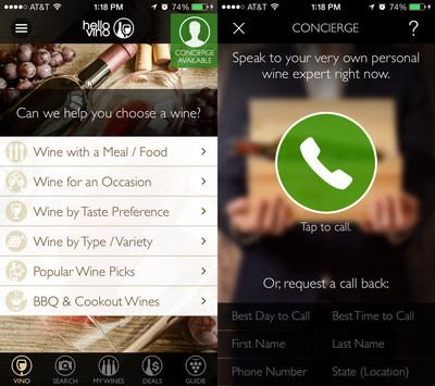 "New ""Wine Expert On-Demand"" concierge feature in Hello Vino Wine Assistant app, powered by VinoPRO (PRNewsFoto/Hello Vino)"