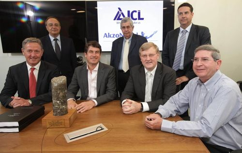 In the photo at the signing of the agreement, from right to left: Standing: Carles Aleman- ICL Iberia Salt Business Unit Director, Isaac Goldstein -ICL SVP Marketing & Sales Europe, Jose Antonio Martinez Alamo - Chairman of ICL Europe & Executive President of ICL Iberia. Sitting: Nissim Adar- ICL Fertilizers CEO, Knut Schwalenberg- Akzo Nobel President, Stefan Borgas, CEO, ICL, Nils C. Van der Plas - Executive Vice President & General Manager Salt & DME Akzo Nobel. (PRNewsFoto/ICL)