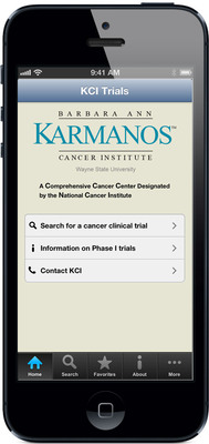 The Barbara Ann Karmanos Cancer Institute (KCI) in Detroit launched its new app to help physicians and healthcare professionals become aware of cutting-edge cancer clinical trials, often available only at Karmanos. The KCI Trials App is free and available on the App Store(SM)  for the iPhone(R) and iPad(R). Visit www.karmanos.org/KCITrials or call 1-800-527-6266 for more information. Apple, the Apple logo, iPhone and iPad are trademarks of Apple Inc., registered in the U.S. and other countries. App Store is a service mark of Apple Inc.  (PRNewsFoto/Karmanos Cancer Institute)