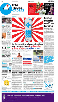 USA TODAY Unveils Dramatic Redesign on all platforms -- Page 1A  (PRNewsFoto/USA TODAY)