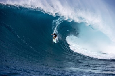 Surfer Ian Walsh drops into Jaws (Maui) in a scene from Red Bull Media House's latest feature film, Distance Between Dreams, out December 2. Photo Credit: Zak Noyle