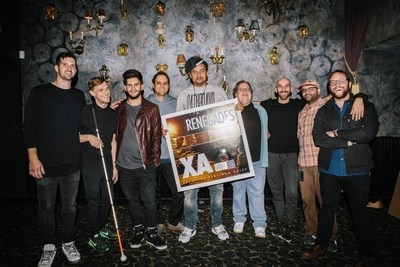 "X Ambassadors receive platinum plaques commemorating sales of over 1 million for their hit single ""Renegades"". Pictured left to right:  Noah Feldshuh,  X Ambassadors; Casey Harris, X Ambassadors;  Adam Levin,  X Ambassadors;  John Janick,  Chairman & CEO Interscope Geffen A&M;  Alex Da Kid, CEO/Founder of KIDinaKORNER;  Steve Berman, Vice Chairman Interscope Geffen A&M; Sam Harris, X Ambassadors; David Galea, booking agent United Talent Agency; Seth Kallen, manager This Fiction Management."