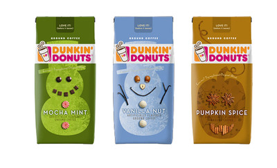 Dunkin' Donuts(R) Packaged Coffee's Vanilla Nut, Pumpkin Spice and Mocha Mint varieties.  (PRNewsFoto/The J.M. Smucker Company)