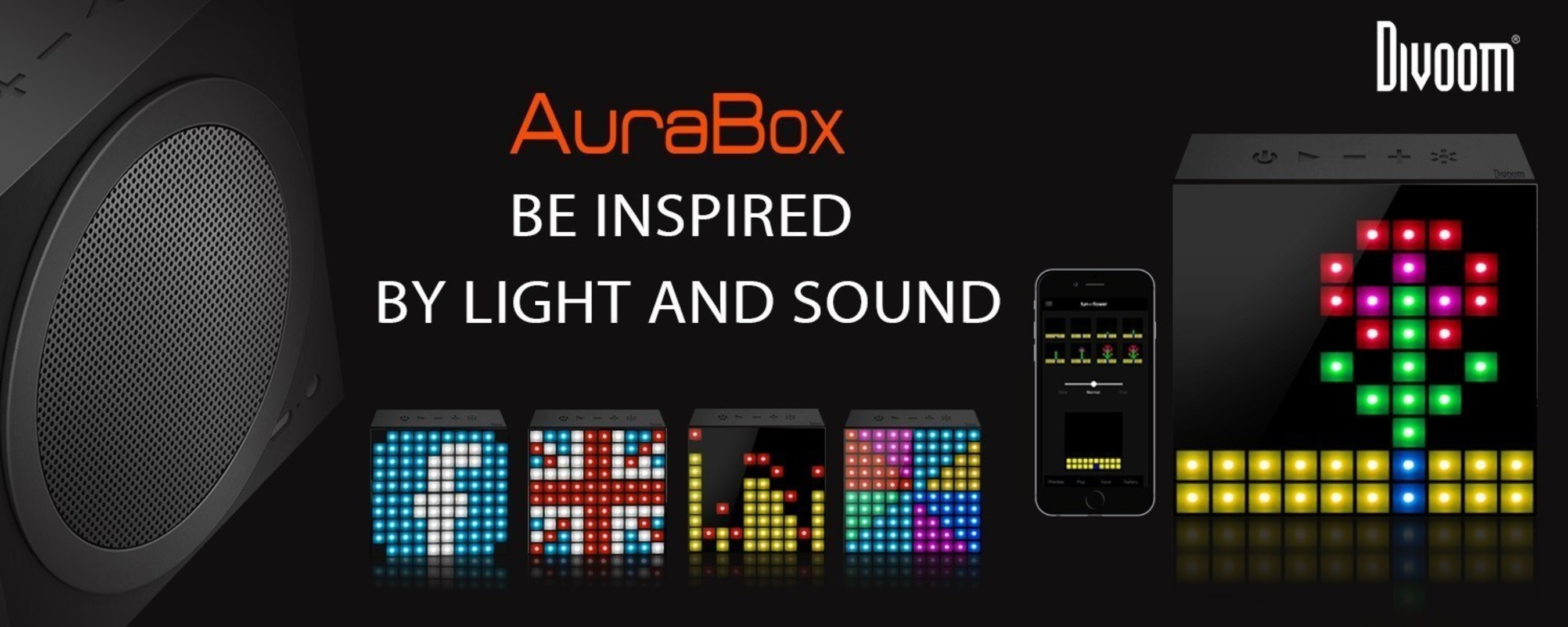 Divoom AuraBox Bluetooth: Smart LED Speaker with In-App Control for Pixel Art Creation/Animation and Social ...