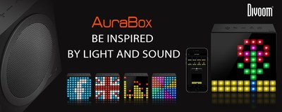 Divoom AuraBox Bluetooth: Smart LED Speaker with In-App Control for Pixel Art Creation/Animation and Social Media Notifications