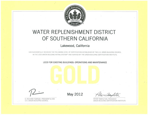 WRD AWARDED PRESTIGIOUS LEED(R) GREEN BUILDING GOLD CERTIFICATION.  (PRNewsFoto/Water Replenishment District of Southern California)
