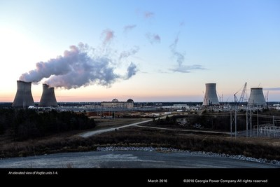 An elevated view of Vogtle units 1-4.