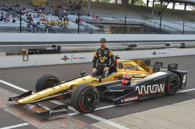 Honda's James Hinchcliffe will start from the pole in Sunday's 100th running of the Indianapolis 500