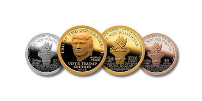 "TrumpDollar.US has issued a silver-dollar size ""2016 Trump Dollar"" to commemorate Donald Trump'spresidential campaign. The obverse features a portrait of Donald Trump with TRUMP THE GOVERNMENTlegend reflecting the dissatisfaction of voters who are fed up with the political class. This is reinforcedwith VOTE NON POLITICIAN on the reverse."