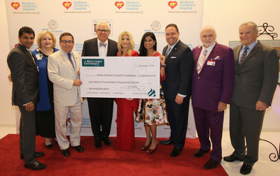 WCU Founder and board member David Pyle (center) and WCU President Bill Clohan (far right) present Nicklaus Children's Hospital and Miami Children's Health Foundation executives with a $1.5 million pledge to support nursing education.