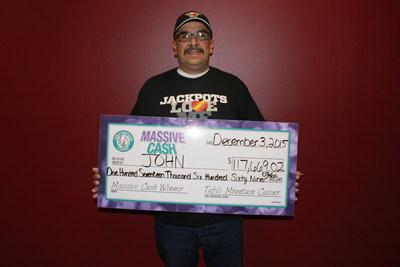 Table Mountain Casino Massive Cash Winner John of Los Banos! Photo Credit:  Table Mountain Casino