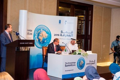 HE Jamal Bin Huwaireb - managing director of MBRF and HE Khalid Abdel Shafi from UNDP at the press conference announcing the Knowledge Summit 2016 (PRNewsFoto/MBRF)