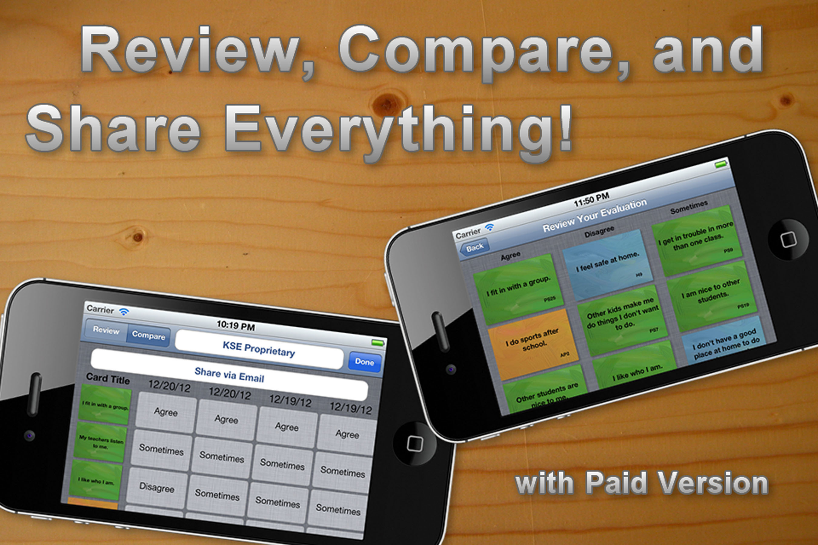 Review, compare and share everything with the paid version of Kids Self Evaluate mobile app. (PRNewsFoto/APG Mobile Applications)