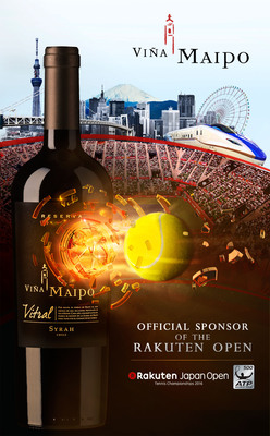 During 2016 and 2017, Vina Maipo will be presented with its focus brand Vitral in each game of the Rakuten Japan Open. (PRNewsFoto/Vina Maipo)