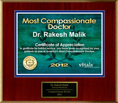 Patients Honor Dr. Rakesh Malik for Compassion.  (PRNewsFoto/American Registry)