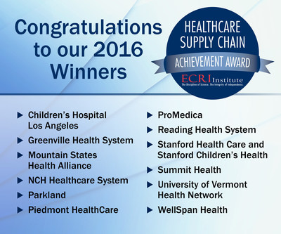 ECRI Institute is proud to announce the winners of its fifth annual Healthcare Supply Chain Achievement Award. The prestigious award honors healthcare organizations that demonstrate excellence in overall spend management and in adopting best practice solutions in their supply chain processes. The winners of the 2016 award are: Children's Hospital Los Angeles, Greenville Health System, Mountain States Health Alliance, NCH Healthcare System, Parkland, Piedmont HealthCare, ProMedica, Reading Health System, Stanford Health Care | Stanford Children's Health, Summit Health, University of Vermont Health Network, and WellSpan Health.