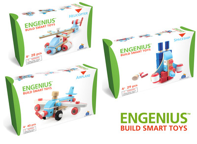 Blue Orange Games is releasing their first line of toys called Engenius, a collection of three wooden construction sets. With interchangeable parts, kids can design and build their own toy. The pieces are easy to screw, push and bolt together into dozens of models. Everything stays in place for hours of play until they're ready to disassemble and build again. Available in Airplane, Helicopter and Spaceship sets. Blue Orange plants two trees for each tree used to create their wooden products.  (PRNewsFoto/Blue Orange Games)