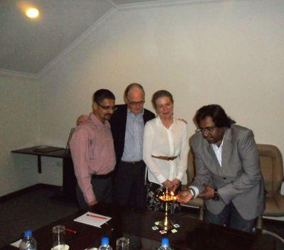 Mr. Sarang Panchal, CEO MRSS-India, Mr. Gernot & Mrs. Barbara from Scentanalysis & Mr. Raj Sharma, President & Co-Founder Majestic MRSS.