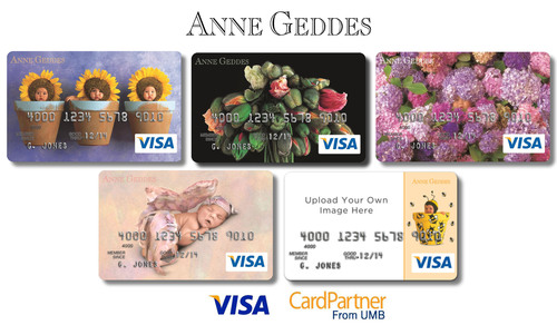 Anne Geddes and UMB CardPartner have joined forces to launch the Anne Geddes Visa(R) Platinum Rewards credit card combining Anne's iconic and beloved imagery on a trusted credit card allowing the consumer to choose a card design that best represents them.  (PRNewsFoto/Anne Geddes)
