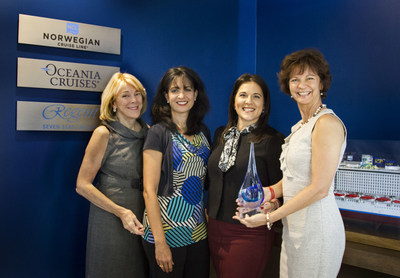 Landry & Kling's founders Jo Kling (left) and Joyce Landry (far right) presented a commemorative award to Norwegian Cruise Line Holdings' Katina Athanasiou, VP Charters, Meetings and Incentives; also shown, NCLH's Lisette Martinez, Director of Sales Operations and Services, Charters, Meetings & Incentives.